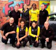 Pulse players with Brendan Foot Supersite technicians