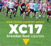 Kids running in the Brendan Foot Supersite Kids Cross Country Series