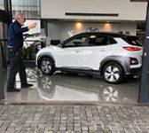 John Lumsden picking his Hyundai Kona EV up from Hyundai NZ